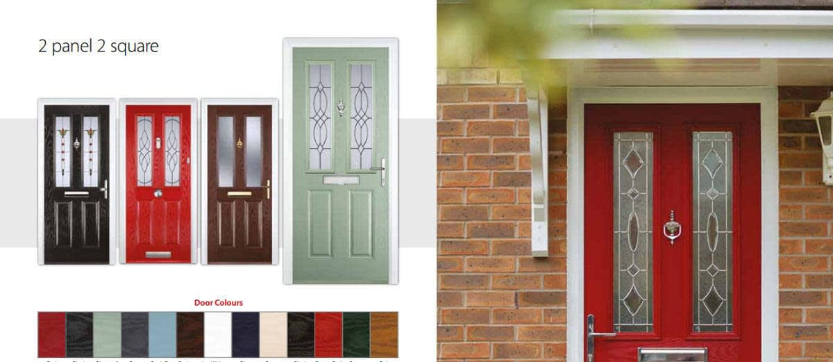 composite-doors-red-poppy-color with upvc porch